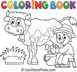 Coloring book farmer milking cow - eps10 vector...