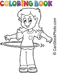 Coloring book girl exercising 1