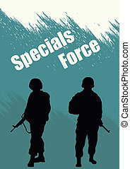 Illustration, booklet, special forces soldiers.