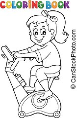 Coloring book girl exercising