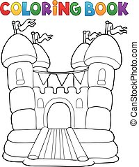 Coloring book inflatable castle - illustration.