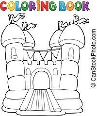 Livre, château, coloration, gonflable