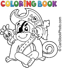 Coloring book pirate monkey illustration.