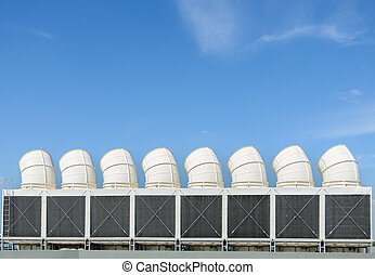Industrial cooling towers or air cooled chillers on building...