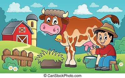 Farmer milking cow illustration.