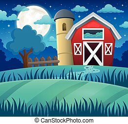 Night farmland theme 1 - eps10 vector illustration.
