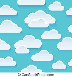 Stylized clouds seamless background illustration.