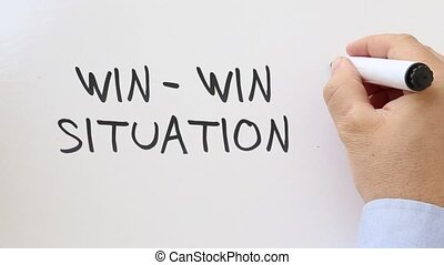 Win win written on whiteboard - Whiteboard writing business...