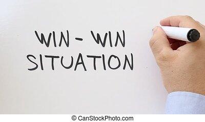 Win win written on whiteboard - Whiteboard writing business...
