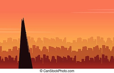 Beauty scenery London city building silhouettes vector art