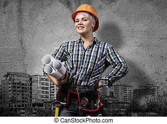My development plan - Engineer woman with blueprints and...