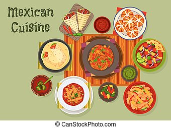 Mexican cuisine traditional lunch dishes icon - Mexican...