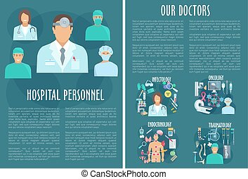 Medical personnel brochure template with doctor