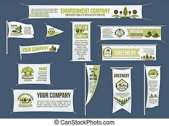 Pole and hanging banner template for eco business - Eco...