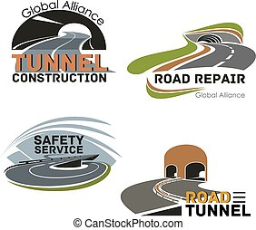 Road building company or maintenance service icon - Road...