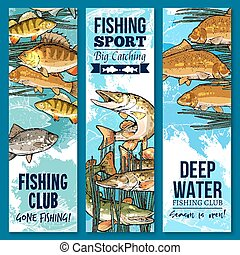 Fishing sport club banner set with swimming fish - Fishing...