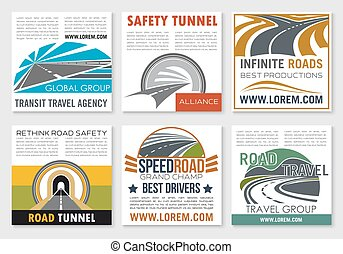 Road travel and traffic safety flyer template. Speedy...