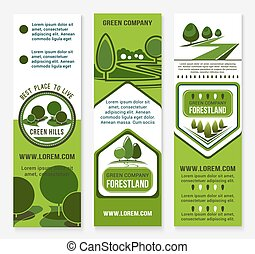 Eco green business banner template with tree - Green...