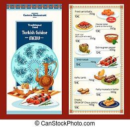 Turkish cuisine restaurant menu. Grilled lamb shish kebab,...
