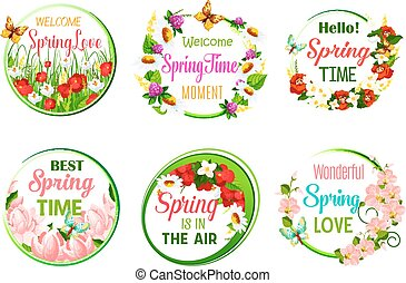 Vector spring time greeting quotes in icons set - Springtime...