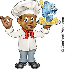 Cartoon Black Chef Fish and Chips - A black cartoon chef...