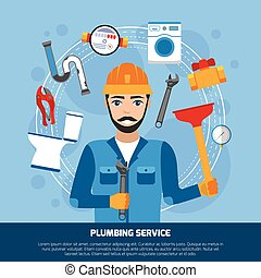 Plumbing Service Tools Background