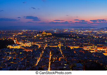 cityscape of Athens at night, Greece - panoramic cityscape...