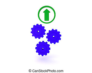 3D Illustration with three gears turning with green up arrow above them