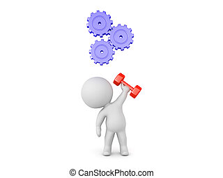 Character lifting dumbbell in one hand with gears turning above his head