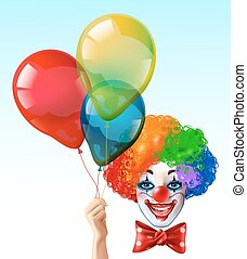 Clown Face With Balloons Bright Icon - Circus clown smiling...