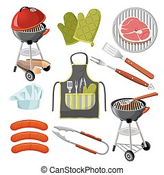 Vector grill, mittens, fresh meat on grid, sausages, shovel, fork