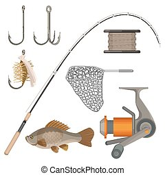 Vector of two hooks, bobbin, landing net, spinning reel,...