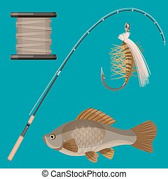 Vector of two hooks, bobbin, landing net, spinning reel,...