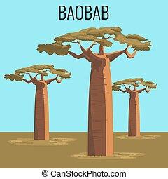African baobab tree icon emblem - African baobab tree...