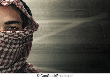 terrorists half face and eyes contact with masked and grunge background, terrorism and criminal concept