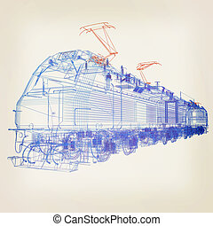 train.3D illustration. Vintage style.