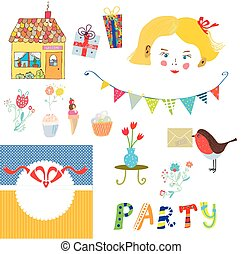 Party elements for the kids with girl face