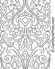 Pattern with flowers for wallpaper. - Black and white floral...