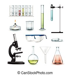 Chemical laboratory equipment - Vector set of chemical...