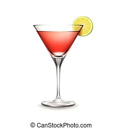 Vector glass of Cosmopolitan cocktail garnished with slice...