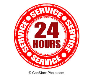 Label 24 hour service - Red label with the text 24 hour...