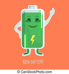 Cute full charged battery cartoon character with hands and face