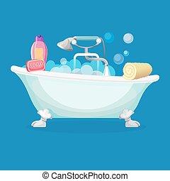 Bath tub isolated full of foam with bubbles - Bathtub...