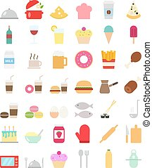 Cooking foods icons set in flat style - Cooking Foods and...