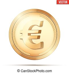 Gold coin with euro sign. - Golden coin with euro sign....