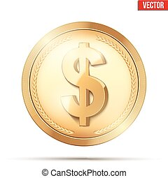 Gold coin with dollar sign.