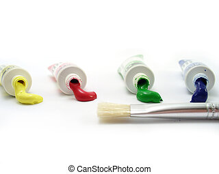 Tempera tubes with brush