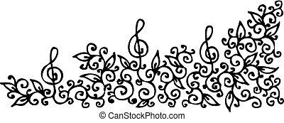 Musical vignette - Refined floral vignette - Eau-forte...