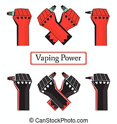 Vape power fists. Abstract vector , EPS 10 file.