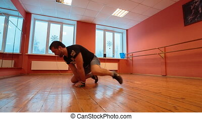 Break dancer in training. guys are trained in the dance hall